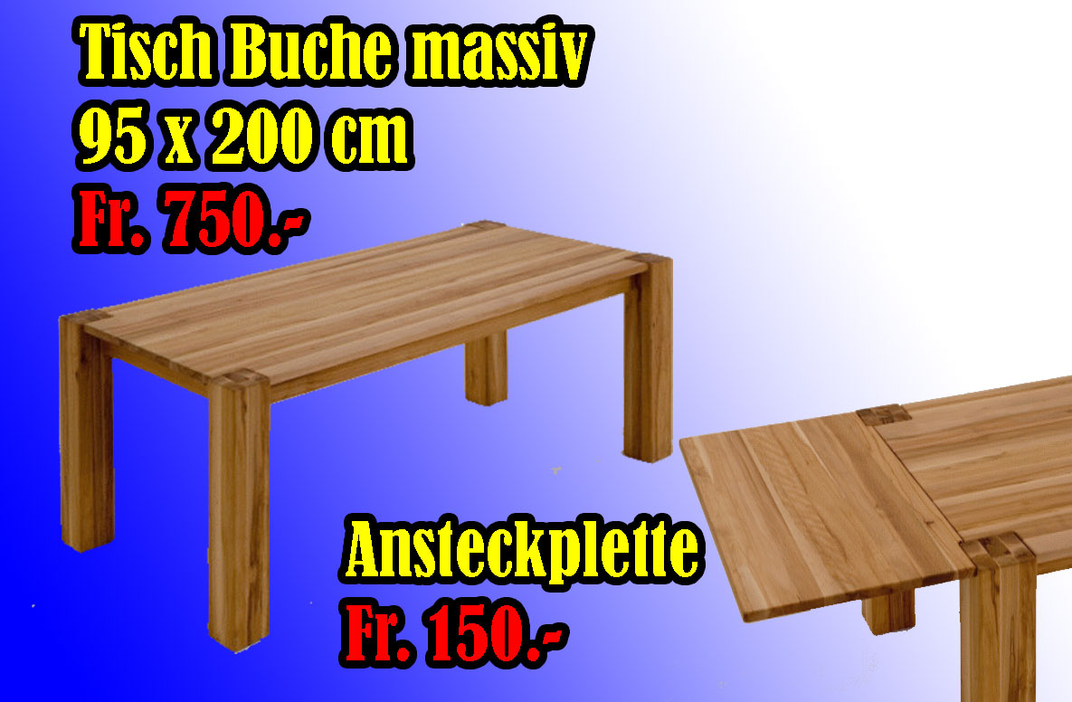 mammut tisch buche massiv 200 x 95 cm fr 750. Black Bedroom Furniture Sets. Home Design Ideas