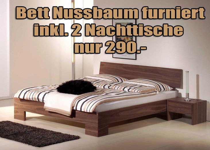 bett genua nussbaum furniert 160 x 200 cm. Black Bedroom Furniture Sets. Home Design Ideas